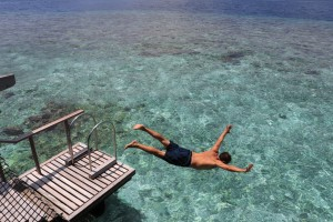 A dive from a luxury hotel in the Maldives
