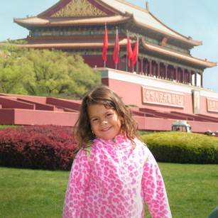 A girl in Tianamen Square in China