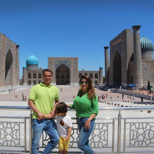 Omnimundi Famili standing in Registan Square in Uzbekistan during a Silk Road travel