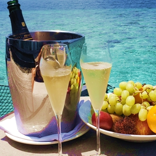 A Fancy fruit basket & Champagne in a luxury resort bungalow in the Maldives Island