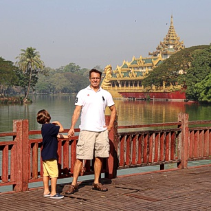 Omnimundi Family near a lake in Yangon, Myanmar