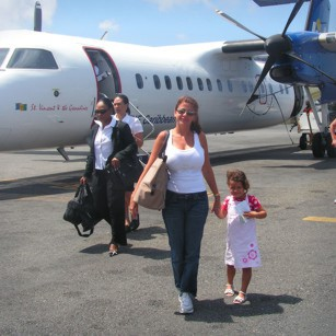 Antigua Airport with tourists