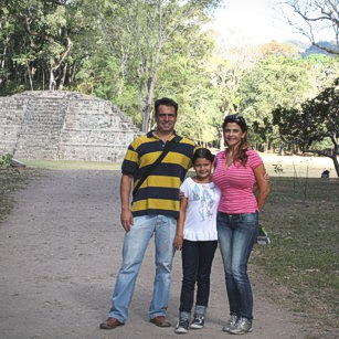 The omnimundi family in the ruins of Copan in honduras