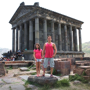 Torists in a Roman ruin in Armenia poses for Omnimundi