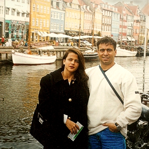 A couple standing in Kobnhavn port in Denmark
