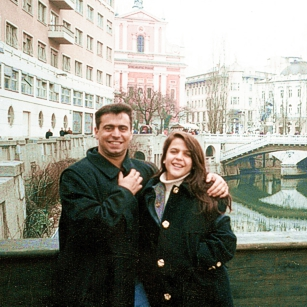 A couple near a river enjoying the city of Ljubljana in Slovenia
