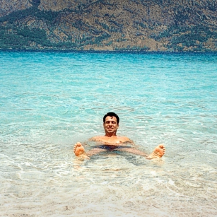 Beautiful blue seas of Cleopatra Island in Turkey featuring Mr. Omnimundi