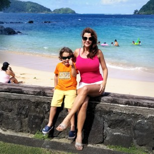 Pago Pago bay in American Samoa and two Omnimundi tourists
