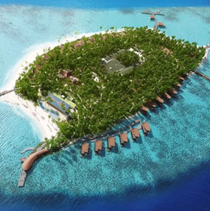 A lurury hotel in the Maldives Island photographed from an airplane travelling nearby