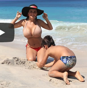 Luxury travel videos ilustration with a beautiful lady in bikini and her son on a beach