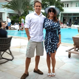 Omnimundi couple standing in the iconic and luxury Copacaban Palace Hotel in Rio de Janeiro, Brazil