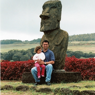 One of the Moabs in Easter Island and two sitting tourists