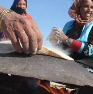 Exotic food: Bread being made by the bedoins in the desert